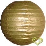 12 Inch Even Ribbing Gold Paper Lanterns