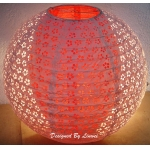 "12"" White eyelet double lacy red paper lantern"