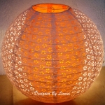 "16"" White Ball with Orange olive eyelet double paper lantern"