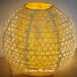 "16"" White eyelet double lacy yellow paper lantern (60 of box)"