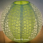 "12"" White eyelet double lacy light lime paper lantern"