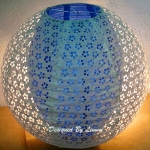 "16"" White eyelet double lacy Navy Blue paper lantern(60 OF BOX)"