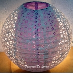 "12"" White eyelet double lacy Purple paper lantern"