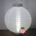 "16"" Led Battery Operated Nylon Lantern-White"