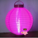 "10"" Led Battery Operated Nylon Lantern-Fuchsia"