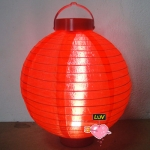 "14"" Led Battery Operated Nylon Lantern-Red"