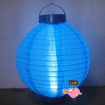 "14"" Led Battery Operated Nylon Lantern-Turquoise"