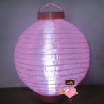 "20"" Led Battery Operated Nylon Lantern-Pink"