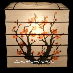 "12"" Box Plum Tree Printed Bamboo Ribs Paper Lantern"