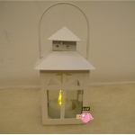 Metal House Shaped Candle Lantern-White