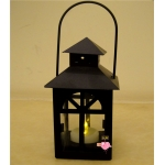 Metal House Shaped Candle Lantern-Black
