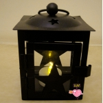 Metal Star Design Candle Lantern-Black