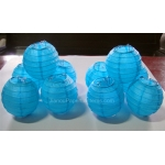 3.5Inch Even Ribbing Turquoise Paper Lanterns(10 of pack)