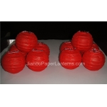 3.5 Inch Even Ribbing Red Paper Lanterns(10 of pack)