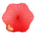 Six Scalloped Parasols-Red