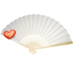 "9"" White Paper Hand Fans"