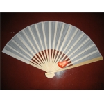 "9"" White Folding Silk Fans(12 pieces)"