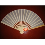 "9"" Beige Folding Silk Fans(12 pieces)"