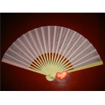 "9"" Pink Folding Silk Fans(12 pieces)"