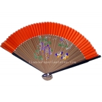 "9"" Drawing Natural wistaria Fans w/ Orange Around"
