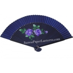 "9"" Drawing Blue Chinese Rose Fans w/ Blue Around"