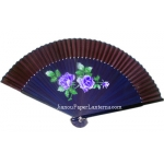 "9"" Drawing Blue Chinese Rose Fans w/ Coffe Around"