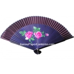 "9"" Drawing Red Chinese Rose Fans w/ Coffe Around"