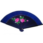 "9"" Drawing Red Chinese Rose Fans w/ Blue Around"
