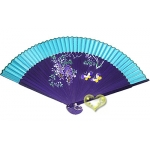 "9"" Drawing Purple wistaria Fans w/ Turquoise Around"