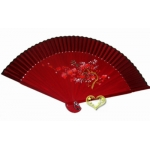 "9"" Drawing Cherry And Bamboo Fans w/ Mauve Around"
