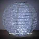 "16"" White Ball with white oliver eyelet double paper lantern"