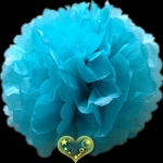"8"" Tissue Paper Pom Poms Ball - Water Blue (4 pieces)"