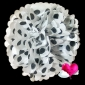 "16"" Black Dot Tissue Paper Pom Poms Ball -(4 pieces)"