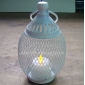 Oval Mesh wire Candle Lantern-White