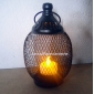 Oval Mesh wire Candle Lantern-Black
