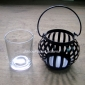 Metal strips Candle Lantern-Black