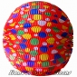 "12"" Multicolour Dot With Red Accordion Paper Lanterns"
