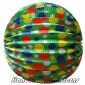 "12"" Multicolour Dot With Green Accordion Paper Lanterns"