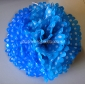 "12"" White Dot with Turquoise Tissue Paper Pom Poms -(4 pieces)"
