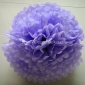 "12"" White Dot with Lavender Tissue Paper Pom Poms -(4 pieces)"