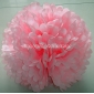 "16"" White Dot with Pink Tissue Paper Pom Poms -(4 pieces)"