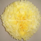 "16"" White Dot with Light Yellow Tissue Paper Pom Poms -(4 pieces"
