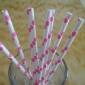 25 pcs Hot Pink Polka Dots Paper Straws