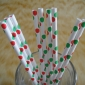 25 pcs Green With Red Polka Dots Paper Straws
