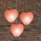 Heart Paper Lantern-Peach 3 pack cluster