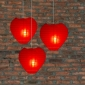 Heart Paper Lantern-Red 3 pack cluster