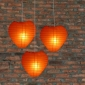 Heart Paper Lantern-Orange 3 pack cluster