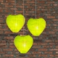 Heart Paper Lantern-Light lime 3 pack cluster