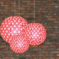 3 pack Red polka paper lanterns cluster