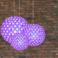 3 pack Purple polka paper lanterns cluster